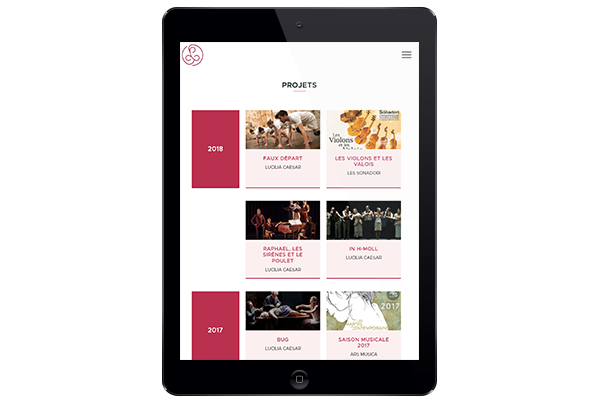 Site web responsive design sur Ipad, Laura Petit